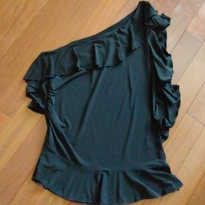 Allen B one shoulder black top size xlarge